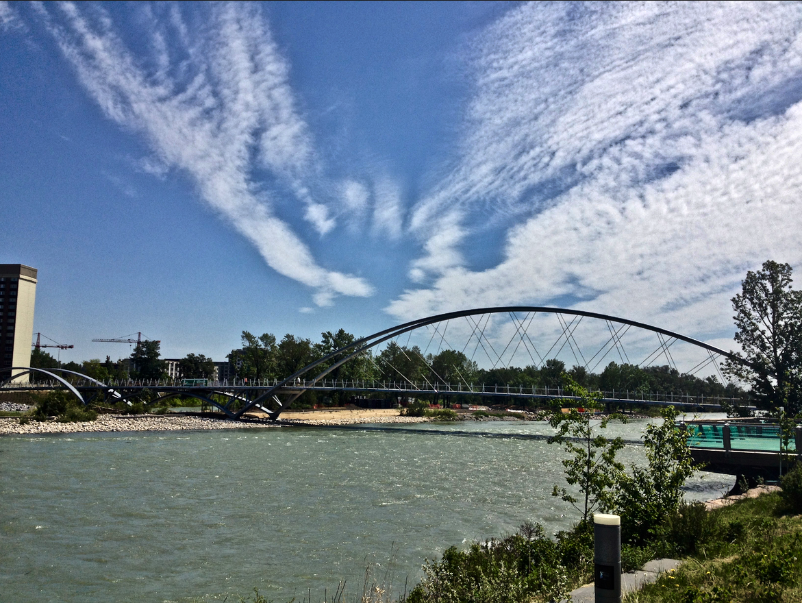 George C. King bridge aka Skipping Stone Bridge connects the SoBow Trail with St. Patrick's Island.