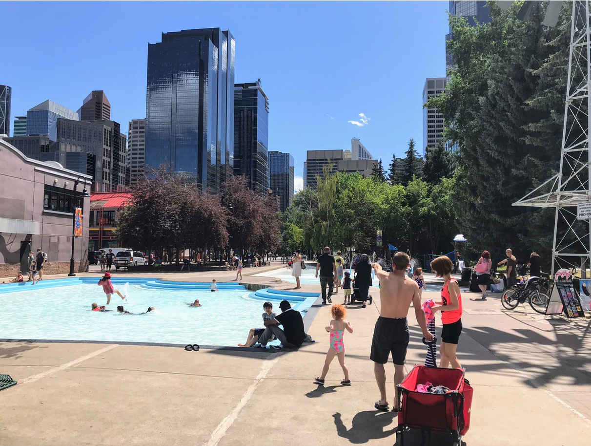 Eau Claire Plaza, developed in the early 90s as park of Eau Claire Market is also home to numerous festivals and events including A Taste of Calgary food festival. It also has a popular wading pool and spray park for young families. It is the gateway into the downtown.