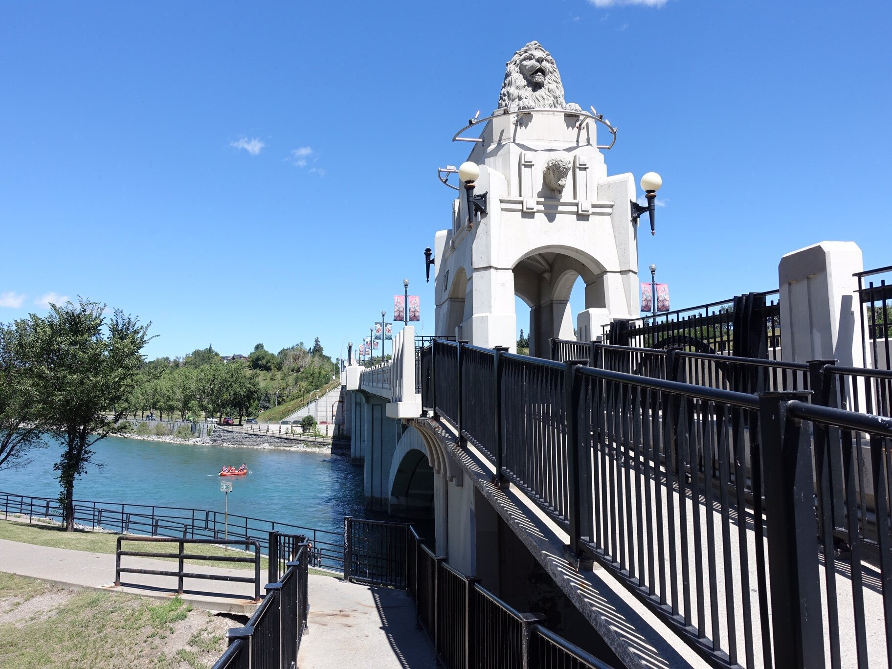 The iconic 1916 Centre Street Bridge with its lions modelled after the bronze lions at Trafalgar Square, London, and then to the popular Jack & Jean Leslie RiverWalk, which winds its way along the Bow River's edge to where it meets the Elbow River.