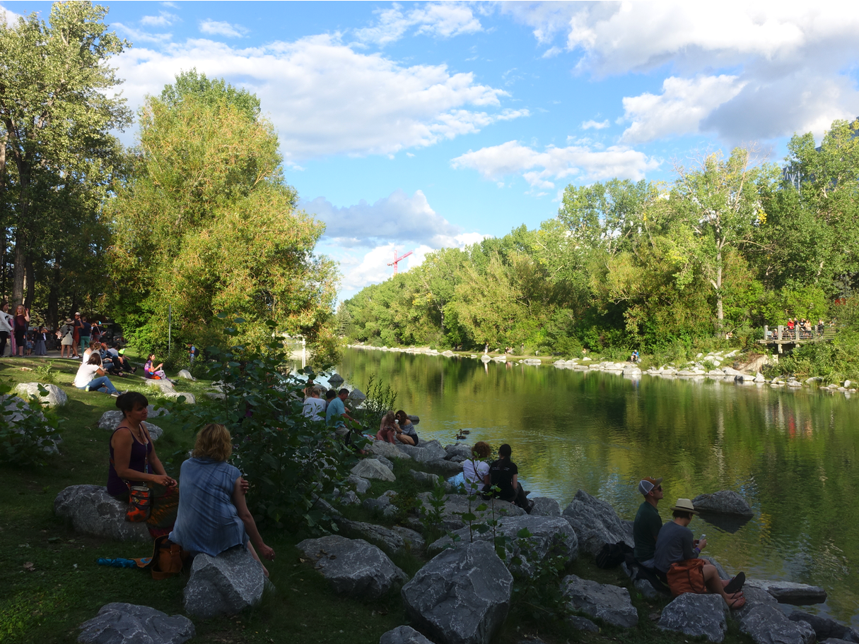 Prince's Island lagoon is a popular place to sit especially when the Calgary Folk Festival is happening on the island.