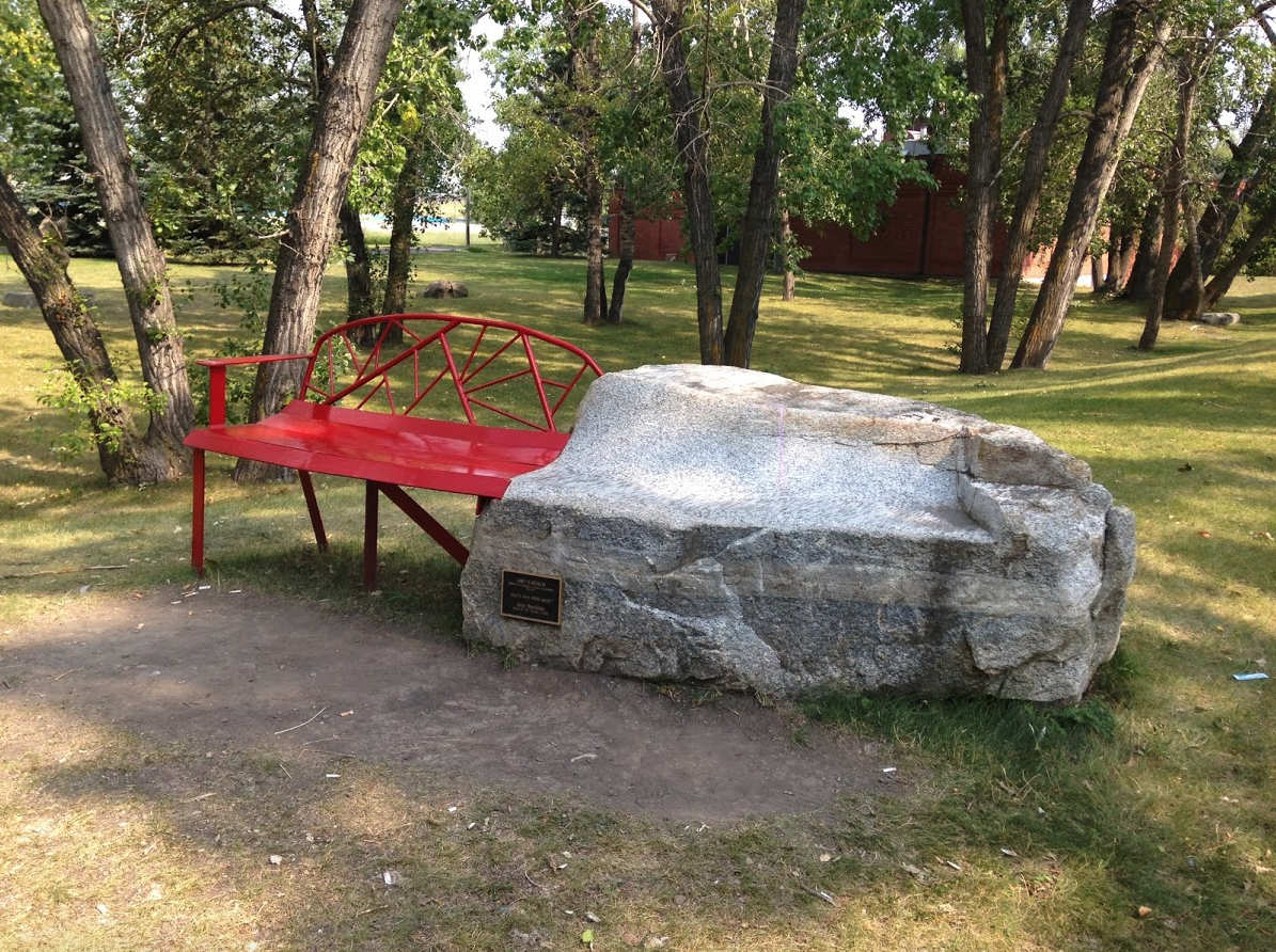 As you continue walking east and you will discover a hidden sculpture park and beach volleyball courts. You have arrived at Pumphouse Park whose name pays tribute to the , Bow River Pumphouse No. which was an integral part of the City's water supply system form 1913 to 1933.