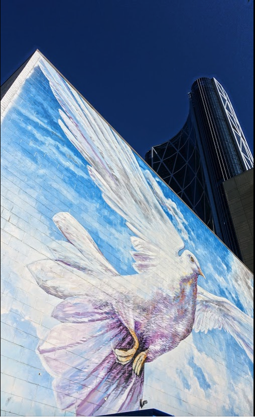 "Doug Driediger mural ""Giving Wings To The Dream."""