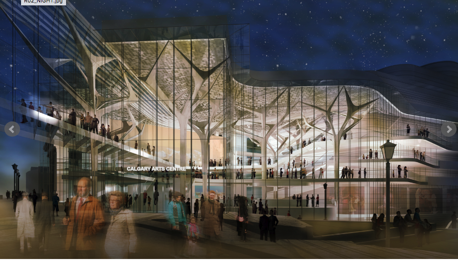 Conceptual rendering of redevelopment of Arts Commons into a more transparent people oriented place. Interesting to note the integration of white tree like structures similar to what is on the Bankers Hall/Core block of Stephen Avenue Walk. (photo credit: Arts Commons website)
