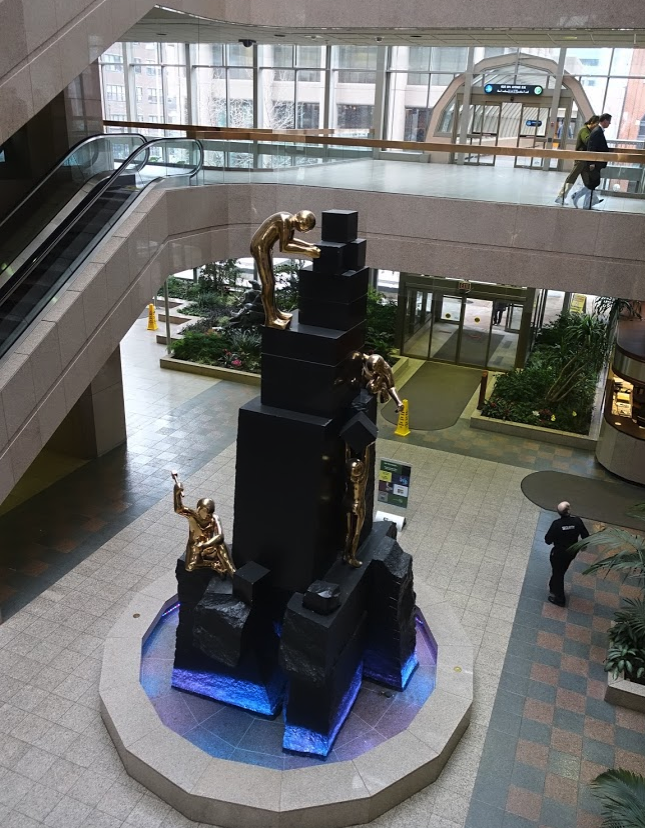 "George Pratt's ""The Builders"" formerly located in the lobby of the Western Canadian Place."