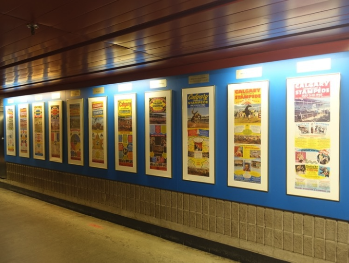 This is the Parade of Posters along the +15 corridor at Stampede Park. The downtown Parade of Posters looked much the same.