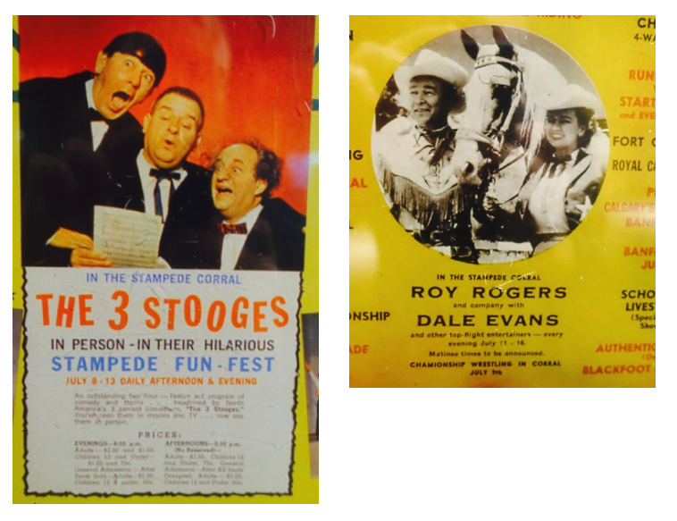 The old posters include lots of interesting information about the Stampede and how it brought world class entertainment to Calgary.