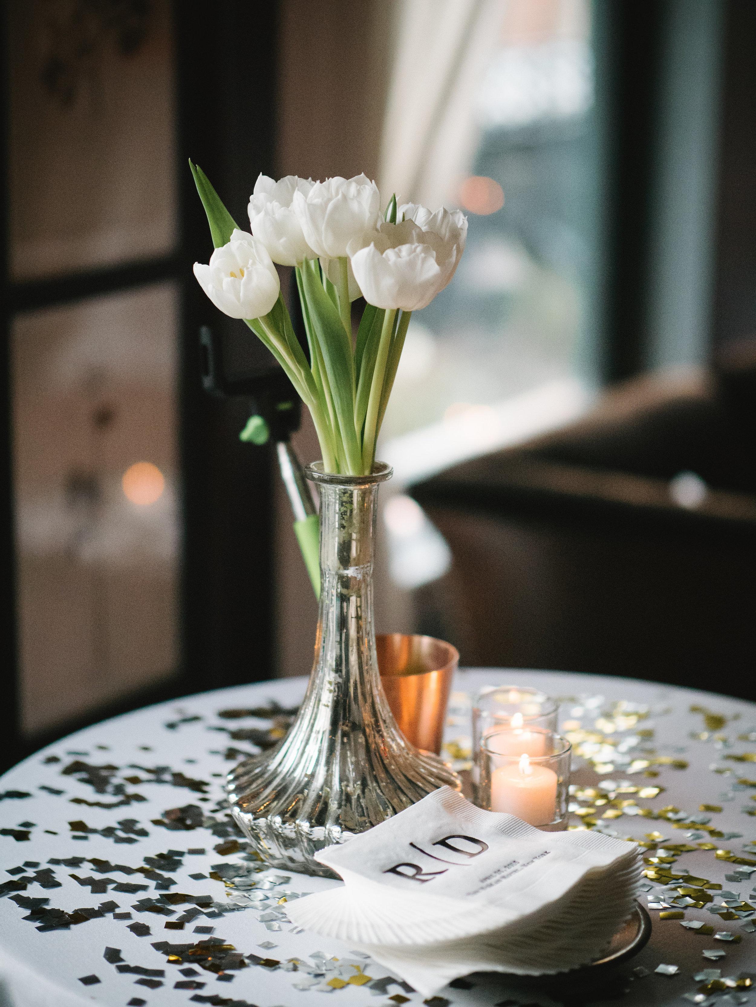 WHITE TULIPS IN MERCURY GLASS