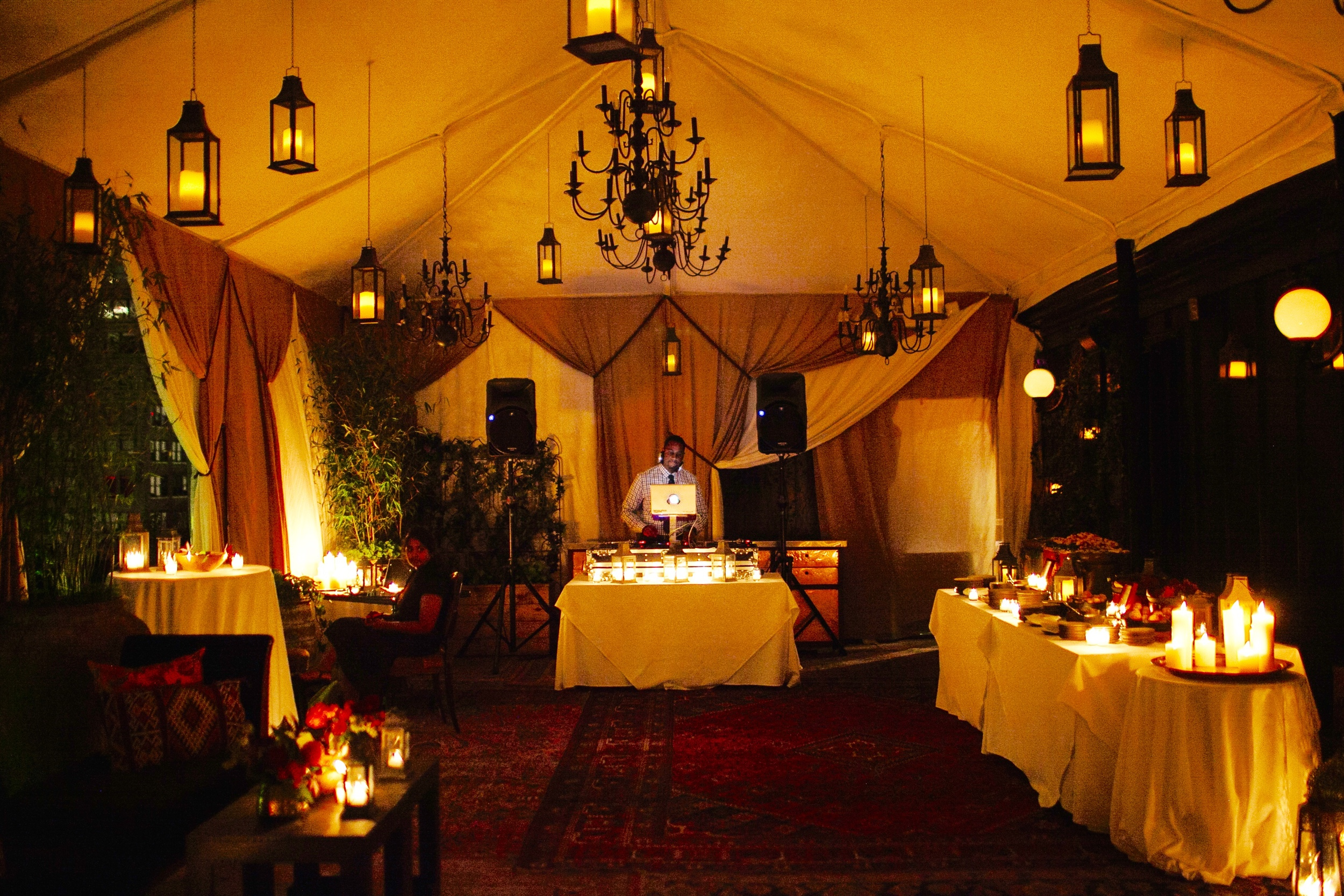 TENT LIT ONLY BY CANDLELIGHT