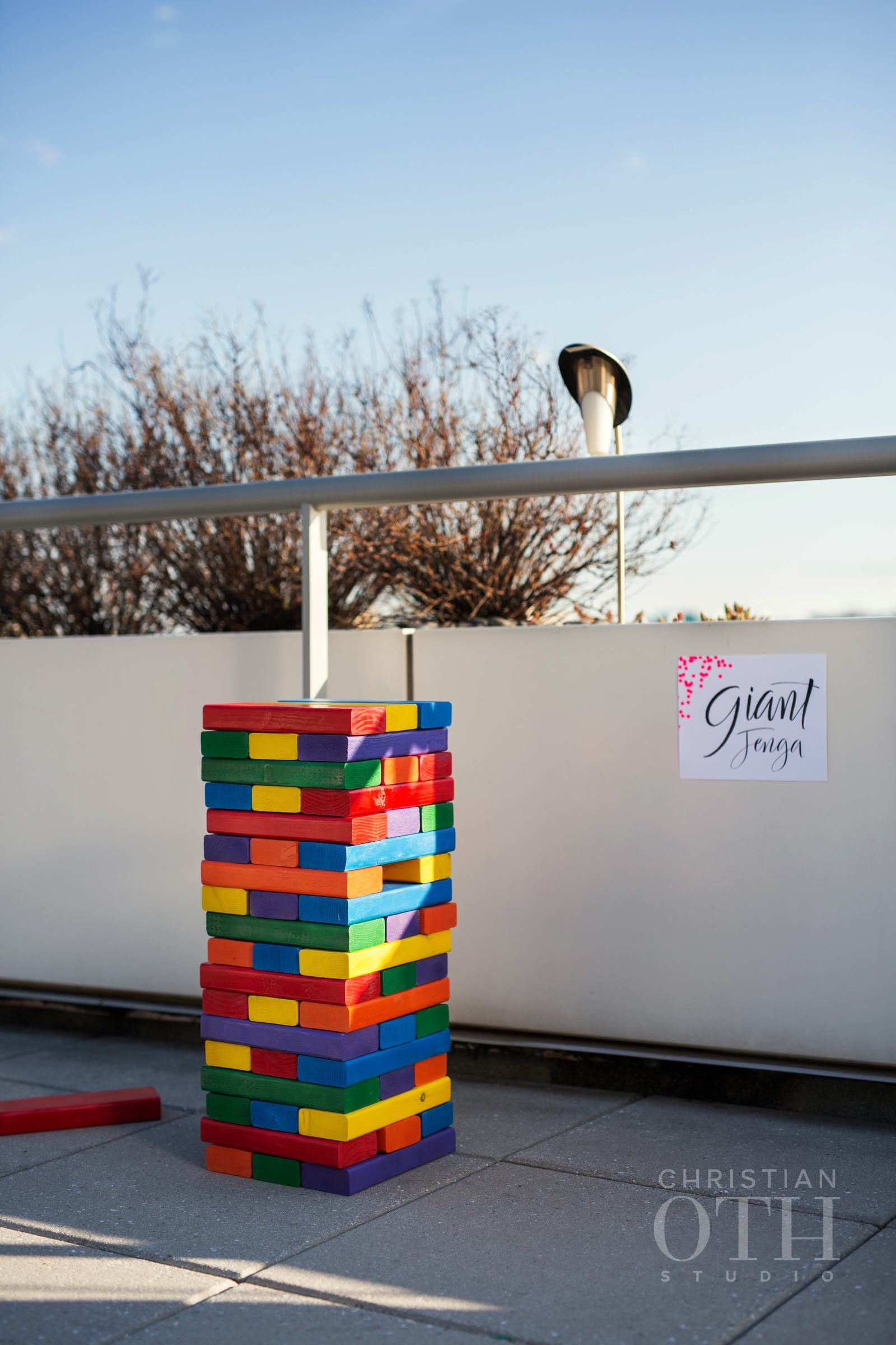 GIANT JENGA IN THE COLORS OF THE RAINBOW