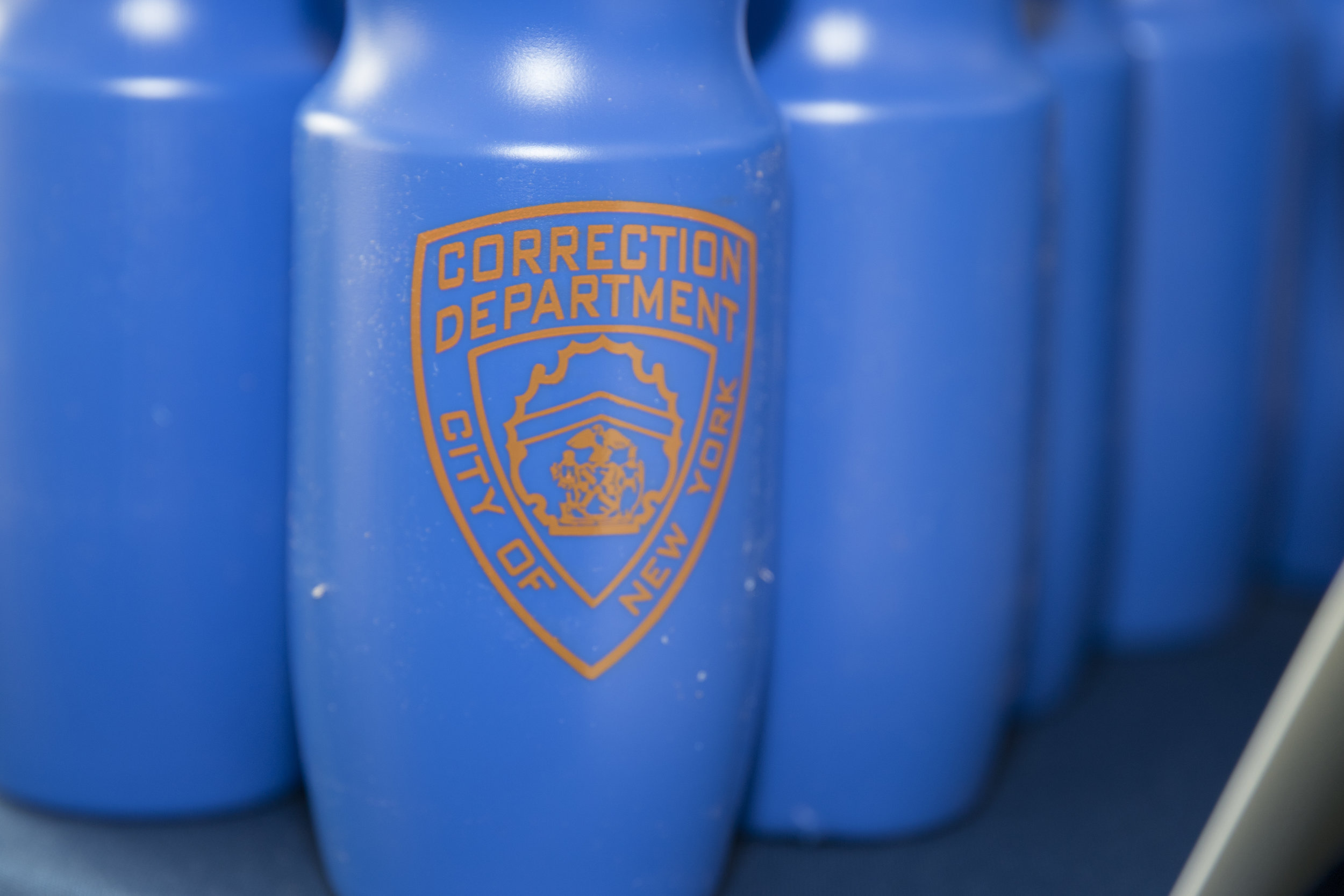 City of New York Correction Department water bottles
