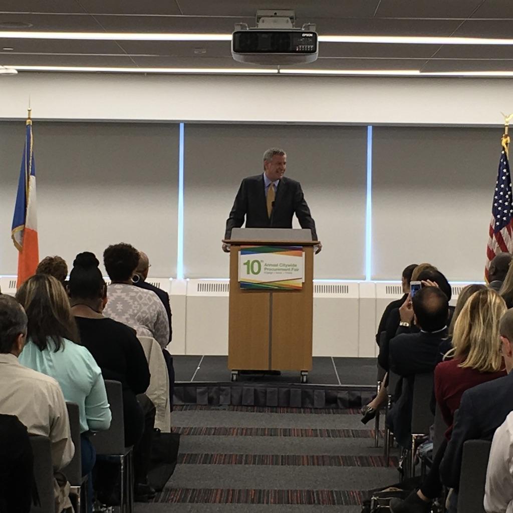 Mayor Bill de Blasio speaks