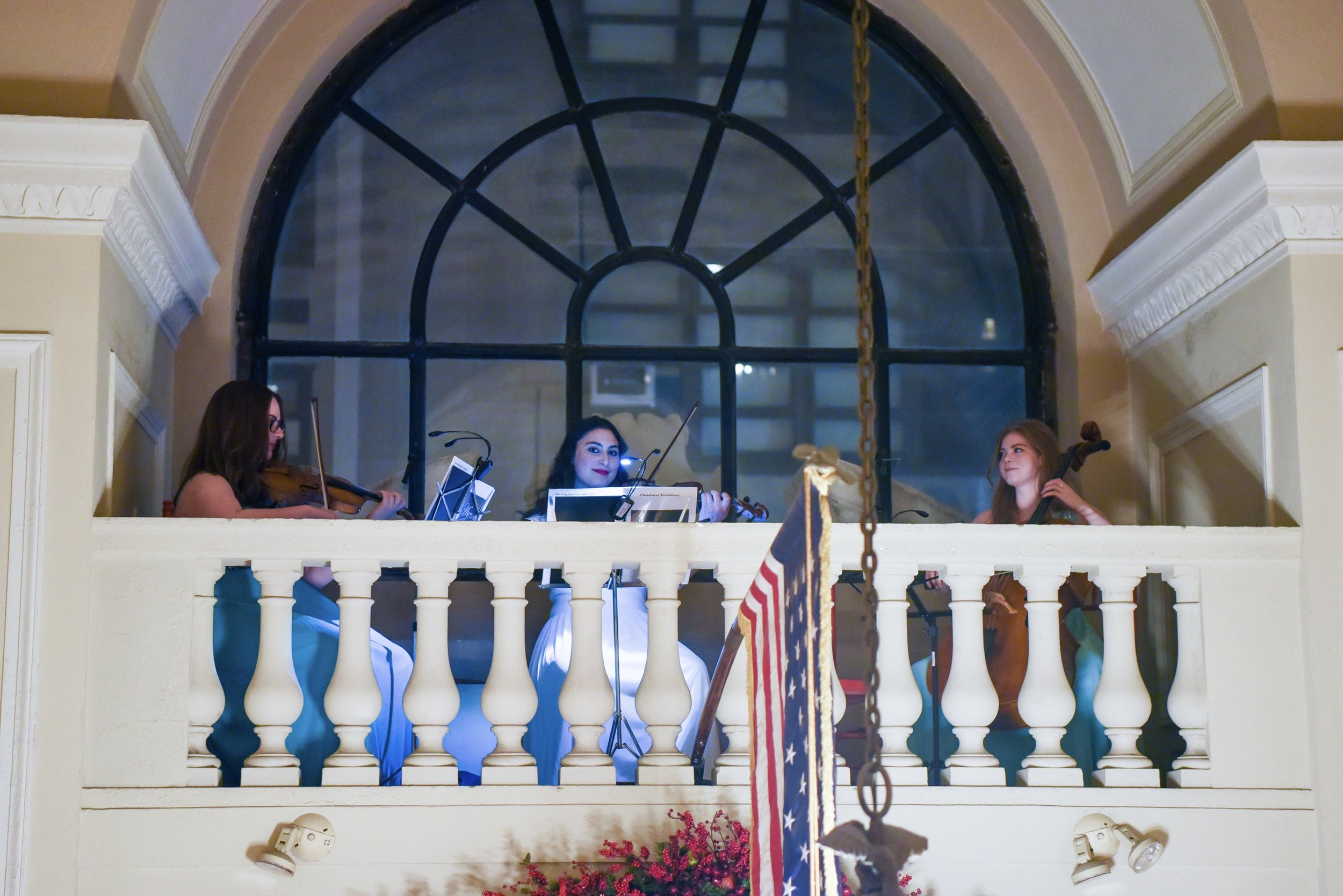 CLASSICAL MUSIC TRIO FROM JUILLIARD PERFORMING ON HIDDEN BALCONY