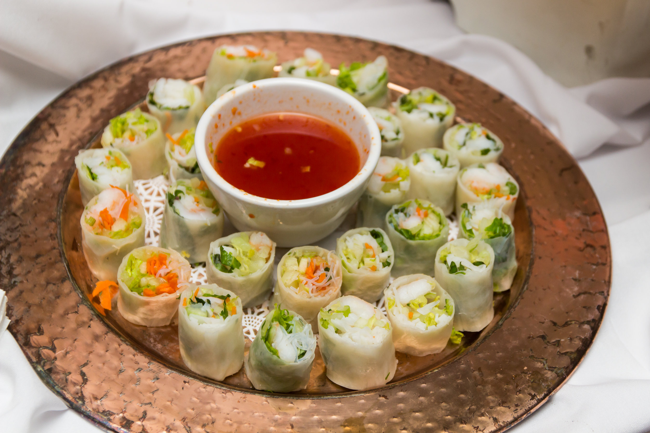 Vegetarian summer rolls served with sweet chile sauce