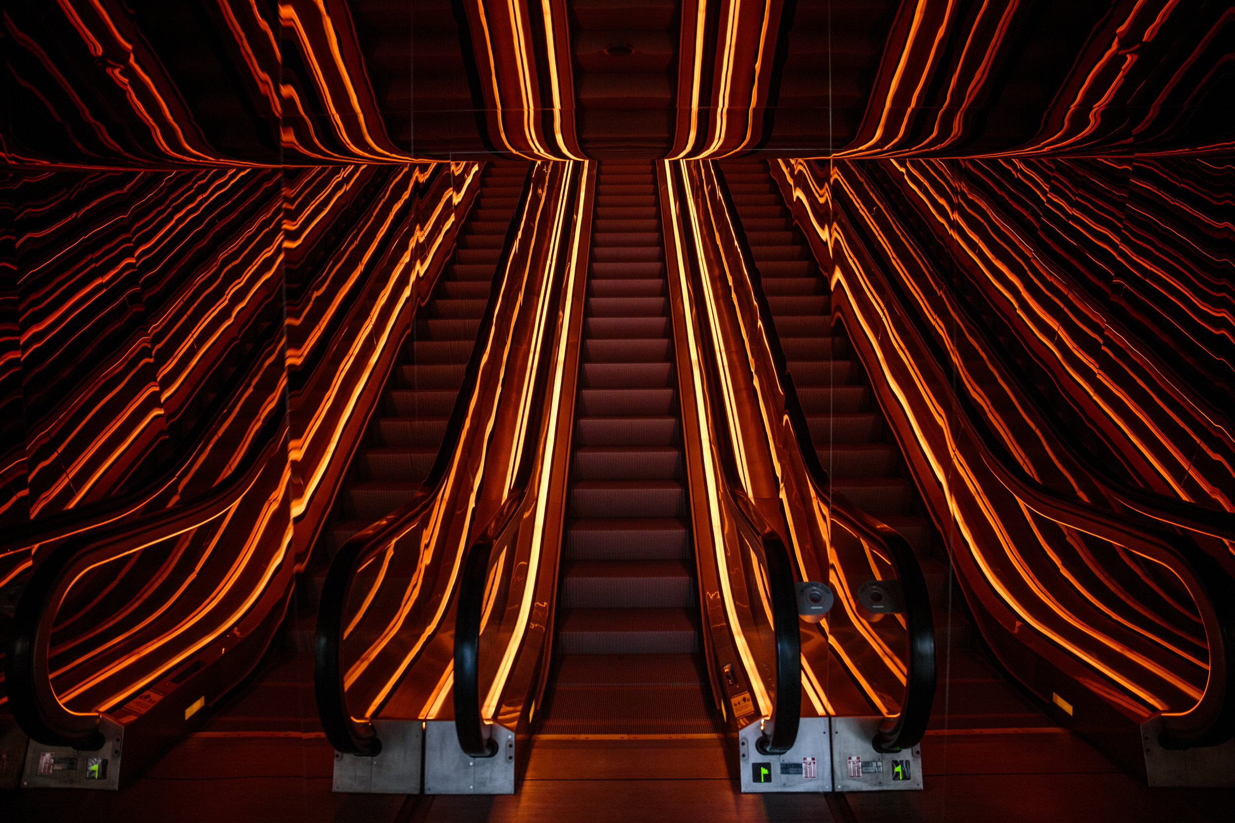 Iconic PUBLIC Hotel Neon Light Escalators