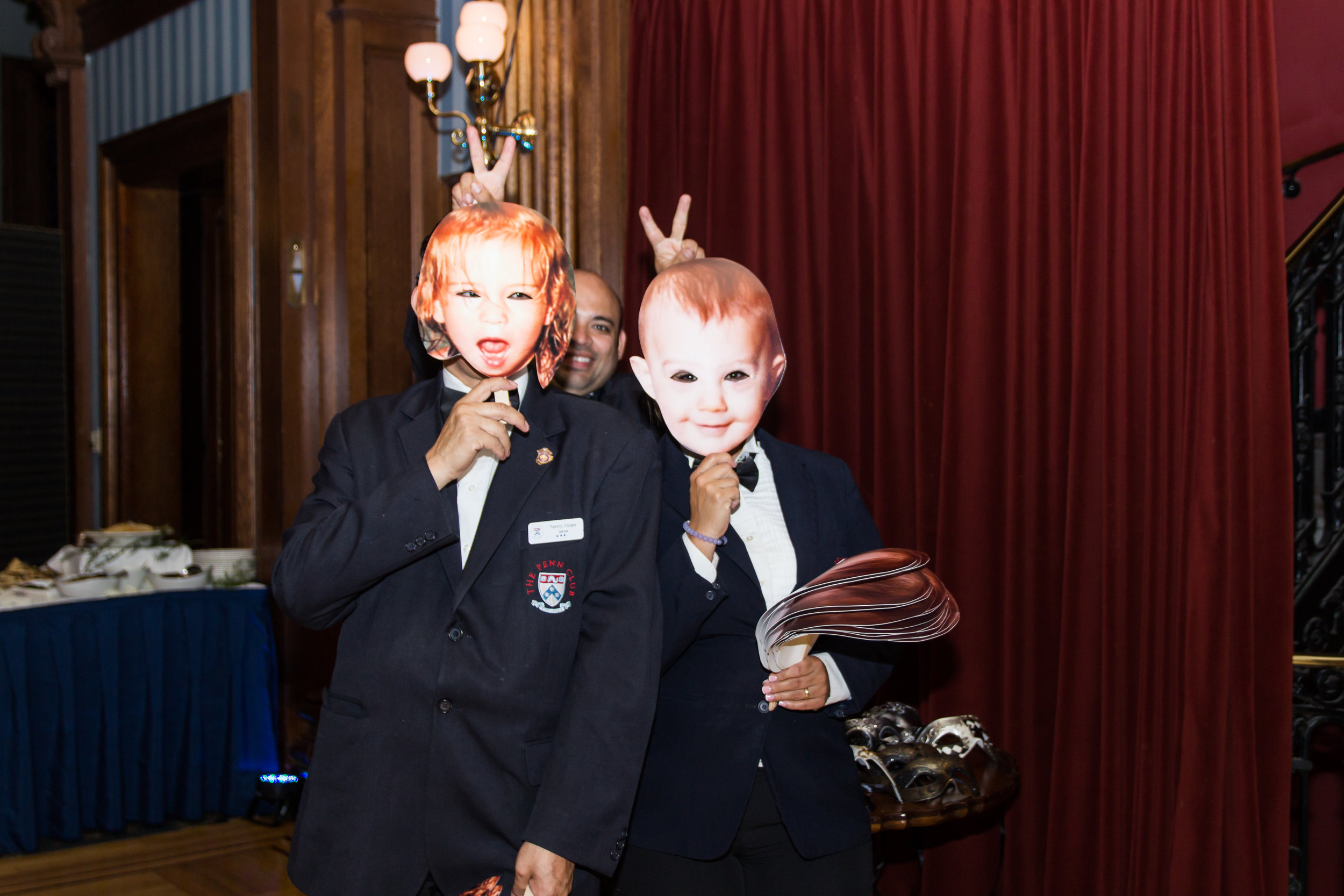 Funny baby face mask to honor the hosts and allow guests to take photos