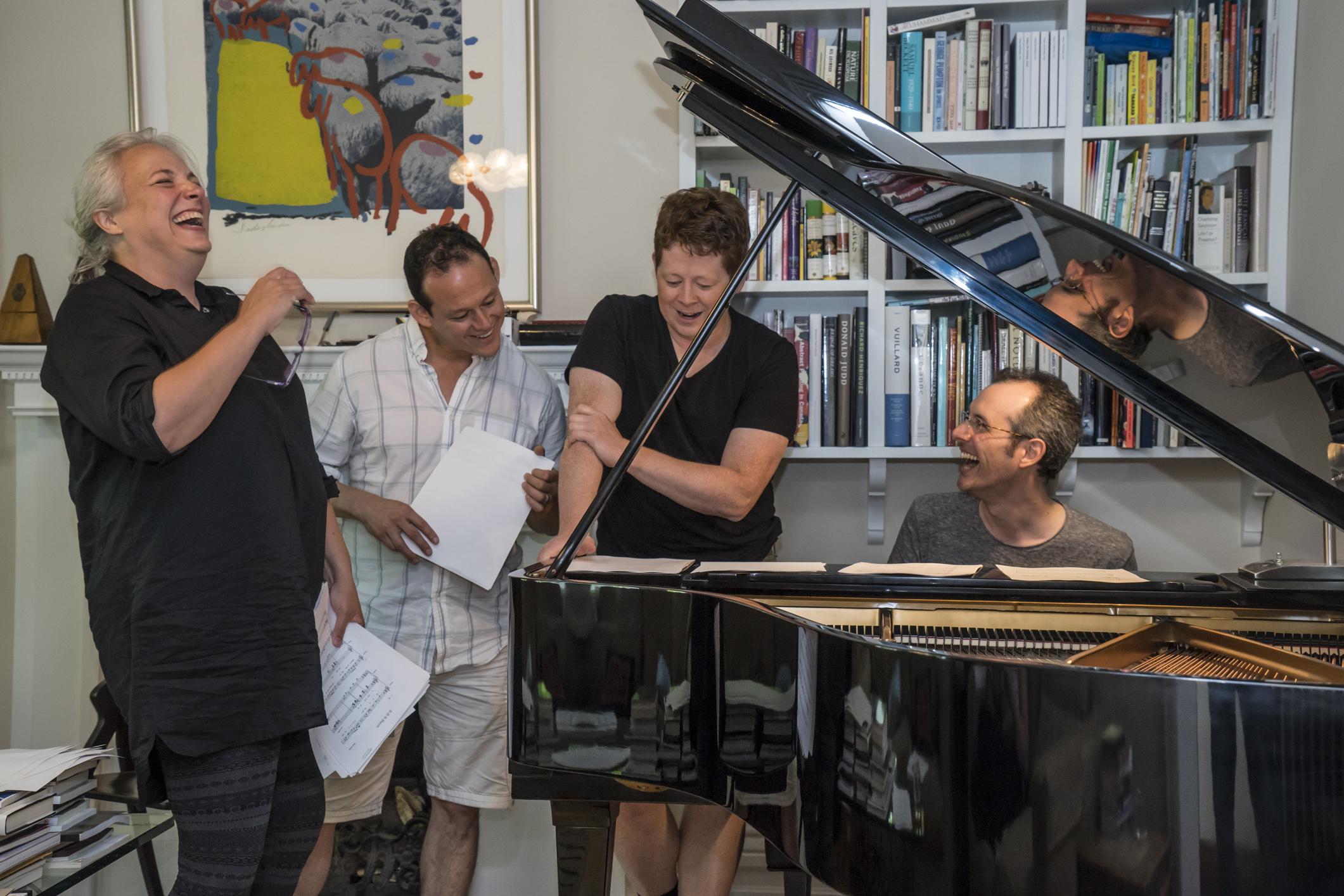 The cast of   UBU MAYOR   by Adam Seelig, Sep 12-21, 2014 at the Wychwood Theatre in Toronto. Left-right:  Astrid Van Wieren  (Huhu),  Michael Dufays  (Dudu),  Richard Harte  (Ubu),  Adam Seelig  (piano). Photo: Yuri Dojc.