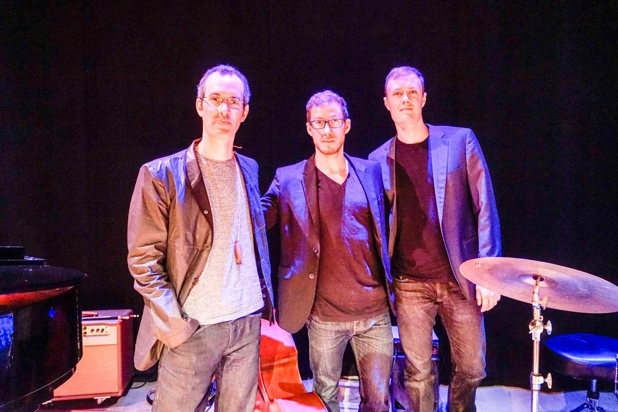 Left-right: Adam Seelig (piano), Tyler Emond (bass) & Jeff Halischuk (drums). Photo: Yuri Dojc.