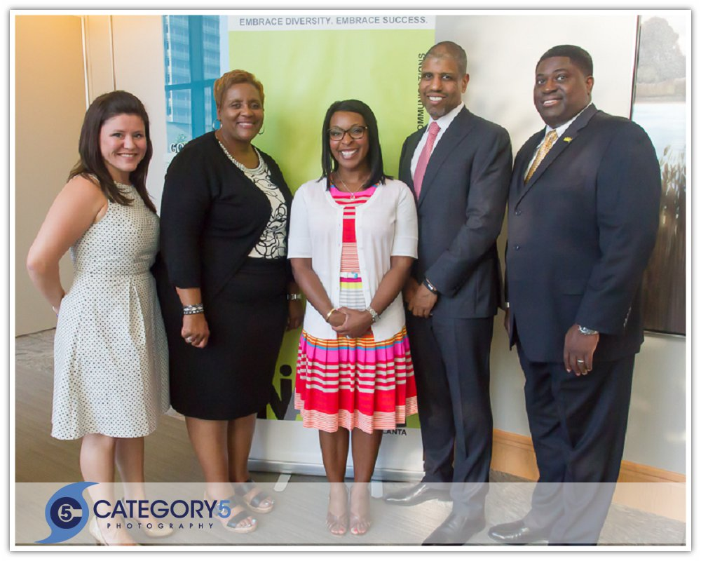 NAMIC Atlanta's leadership team. Secretary Erin Kaczmarczyk, Treasurer Joyclan Sumpter, Vice President Alana Moton-Leverette, Keynote speaker Martin Davidson; and NAMIC Atlanta Chapter President, William B. Cossey Jr.