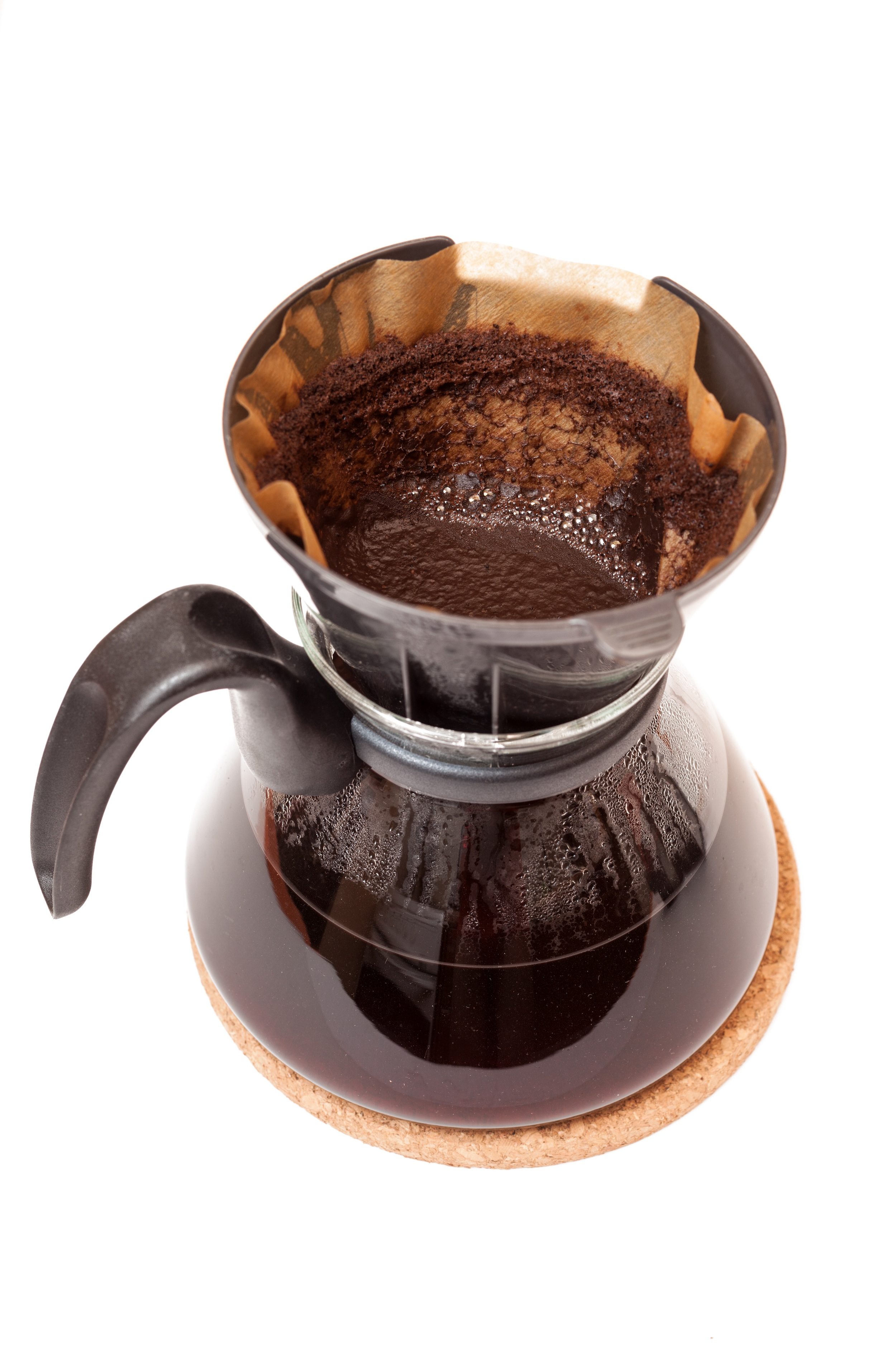 Drip or filter coffee is produced by passing boiled water over medium coarsely ground coffee held in a filter