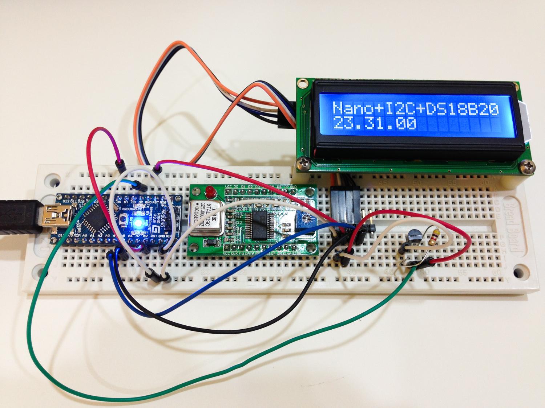 Arduino + DS18B20 + I2C LCD — www HOAGLUN com