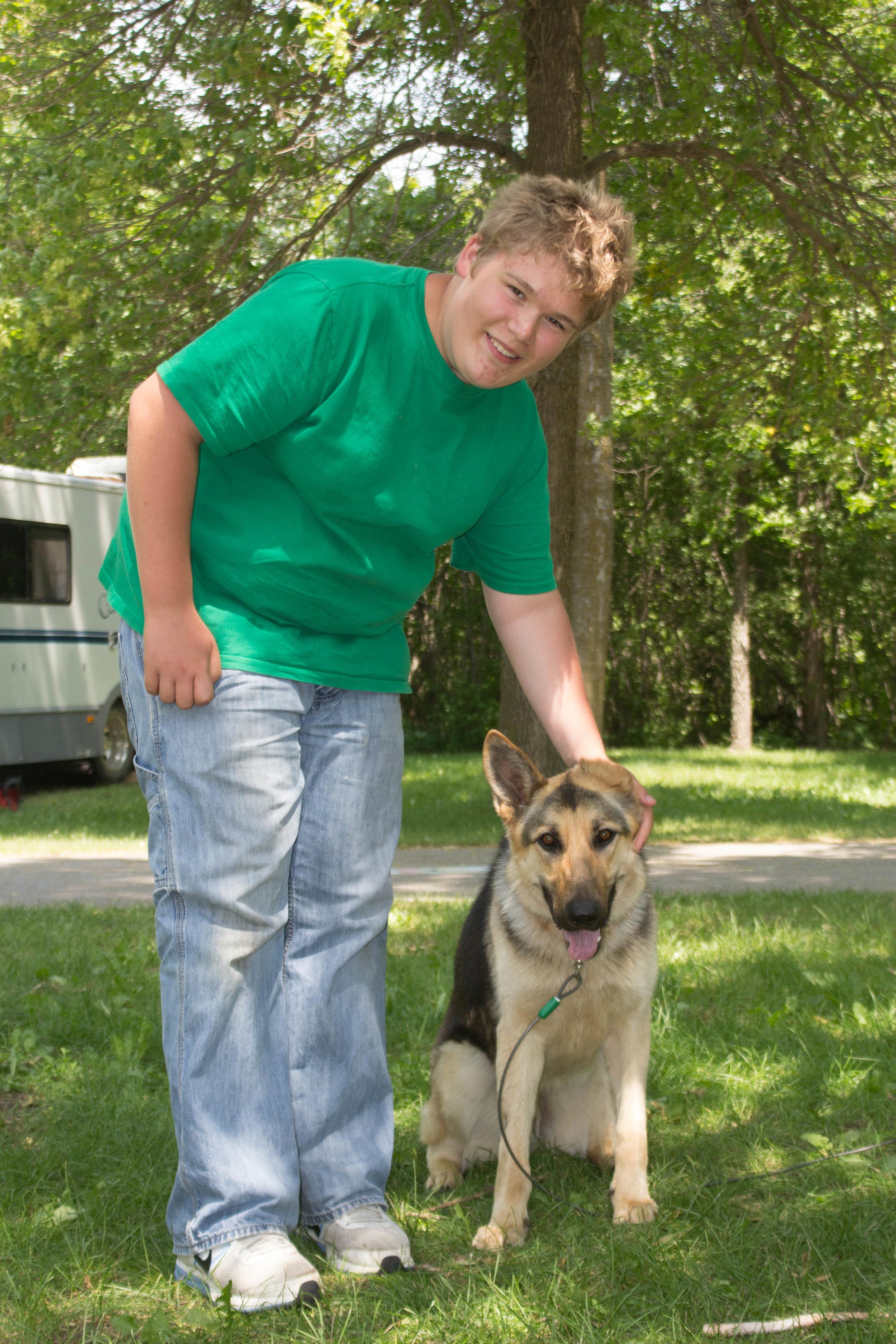 Max the Wonder Dog keeping an eye on Jacob
