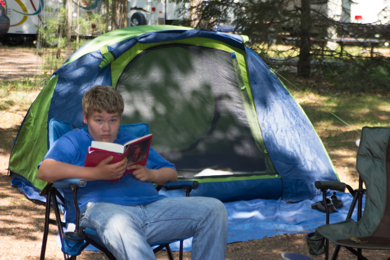 Jacob relaxing with a book