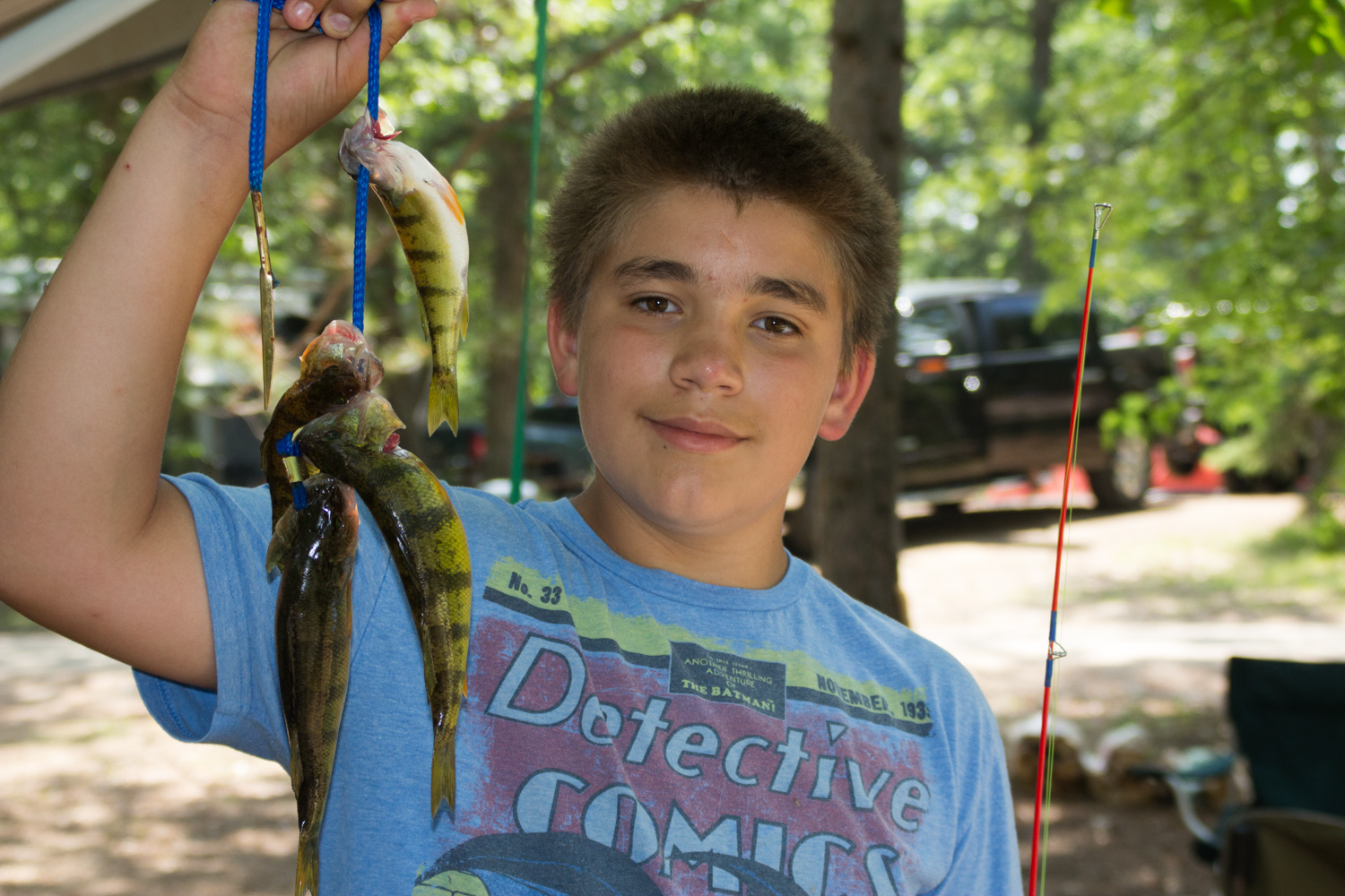 Ben with a stringer from the fishing pier