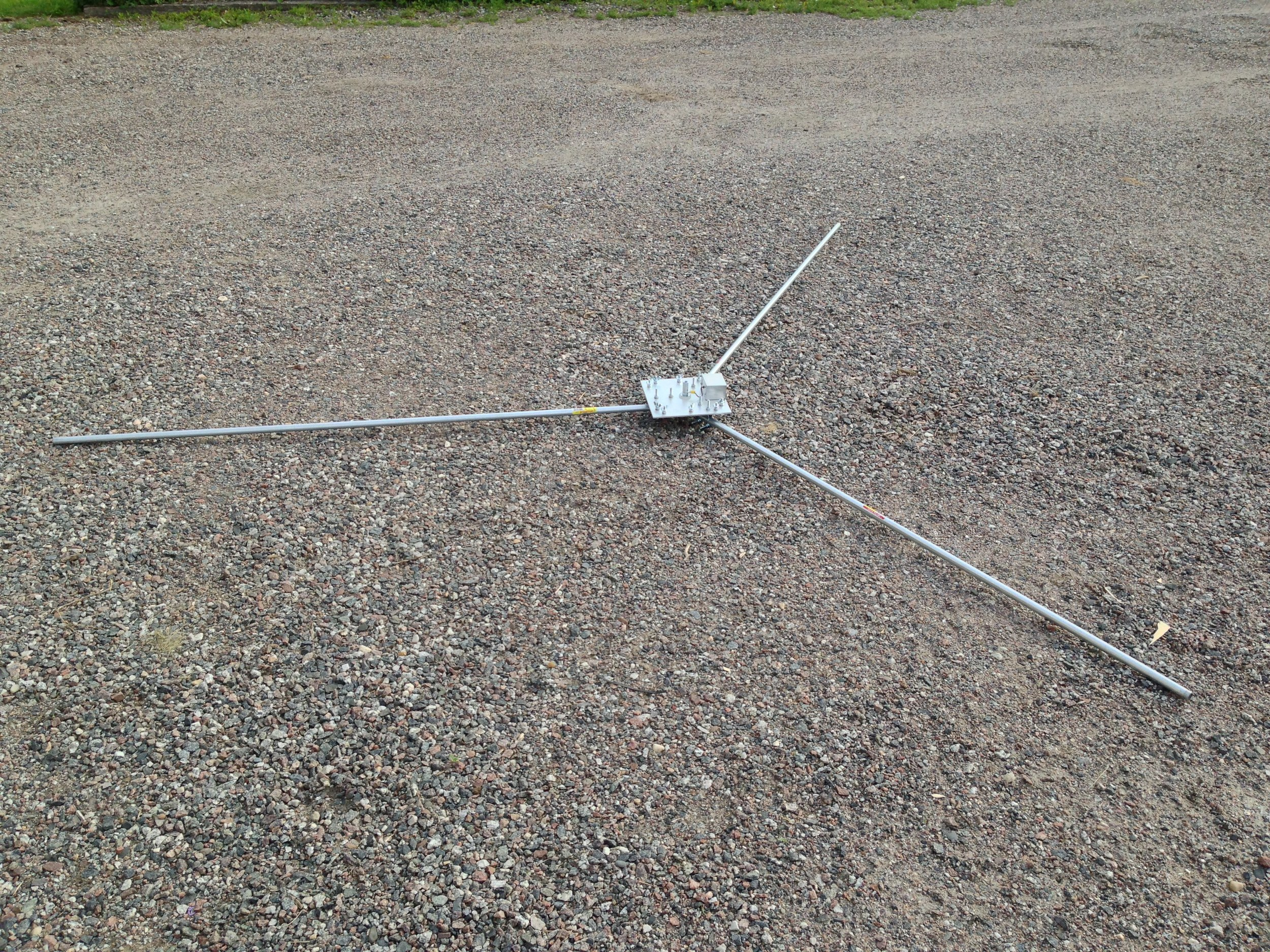The base and conduit (support) deployed in the driveway for testing