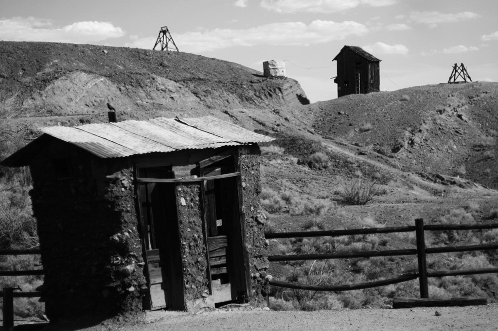 Various abandoned structures in a Nevada ghost town, California Black and white