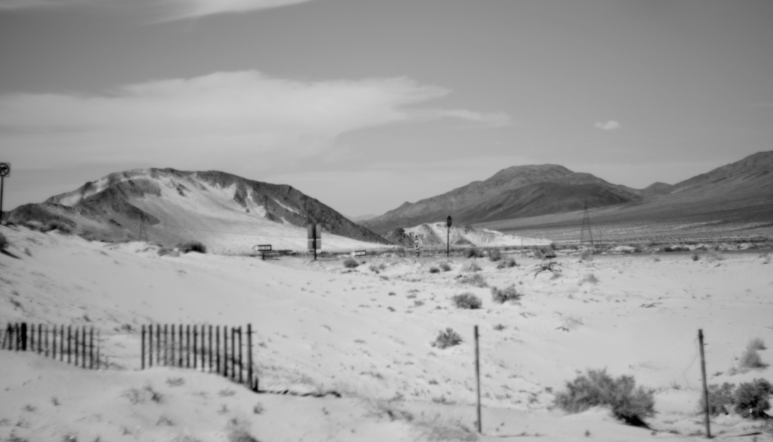 Desolate desert land in Nevada, California Black and white
