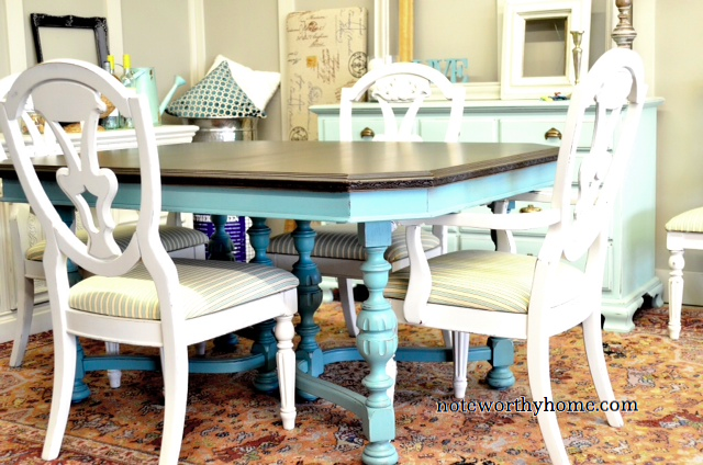 Antique Turquoise Table with Chocolate Top