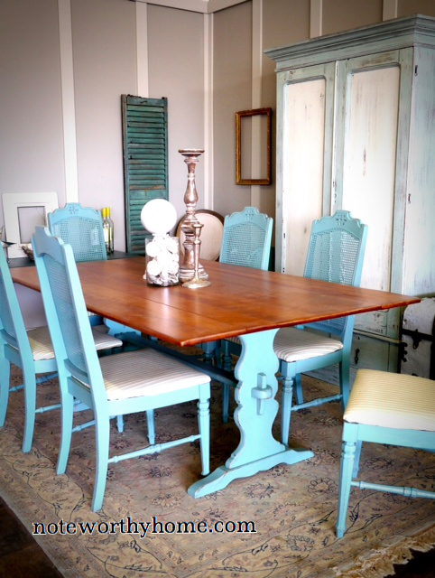 Turquoise and Maple Trestle Table and Chairs
