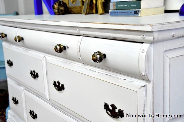 White Dresser with Custom Hardware