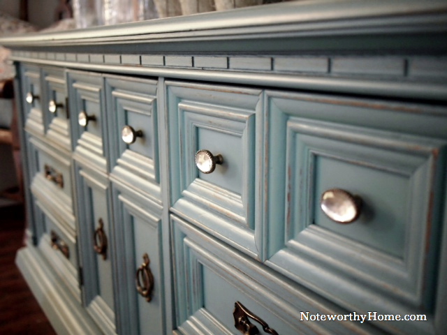 Turquoise Dresser with Crystal Knobs