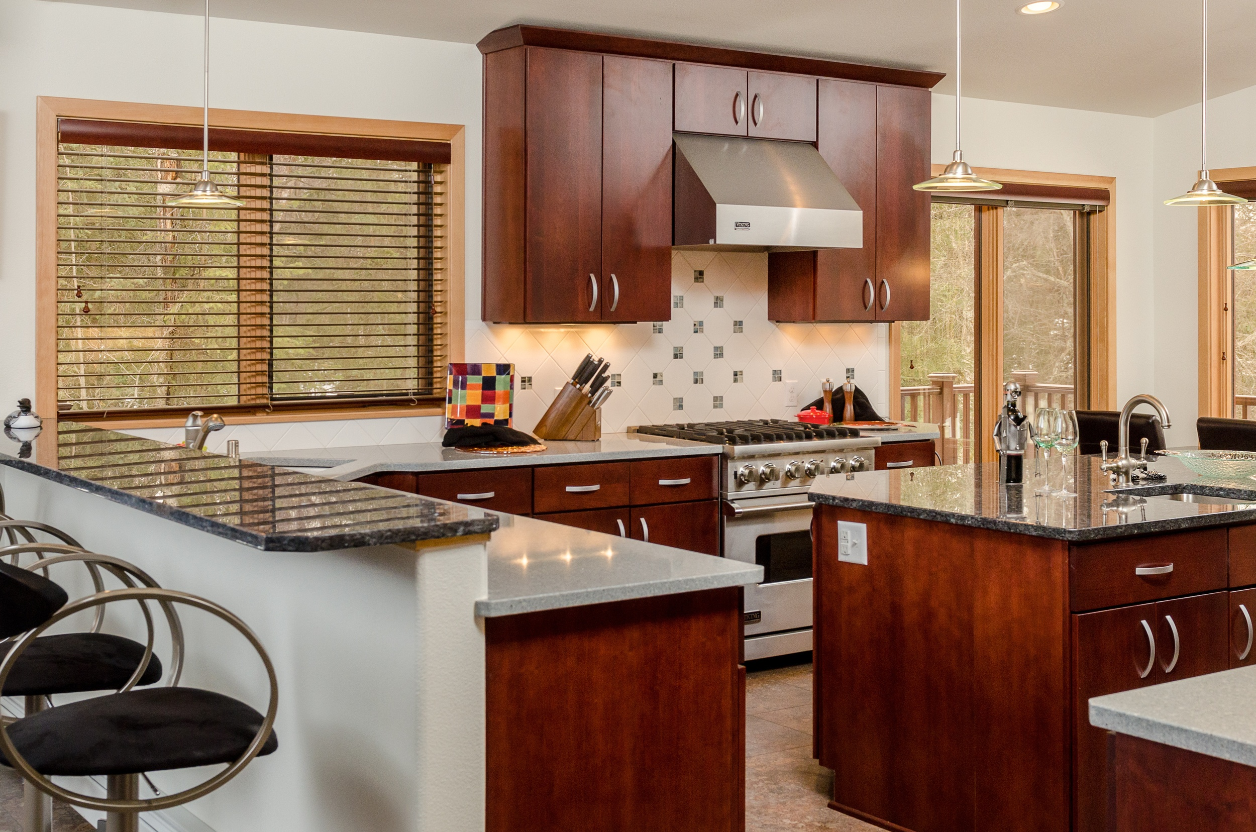 Kitchen Addition With Cherry Cabinets, Quarts and Granite Countertops
