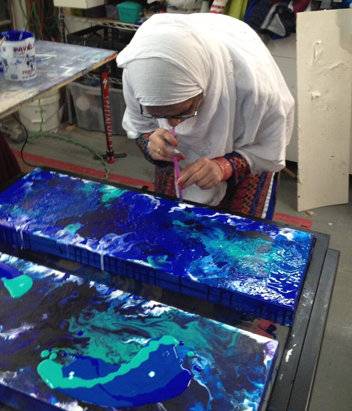 art lesson - One of my abstrct painting students working at my studio.