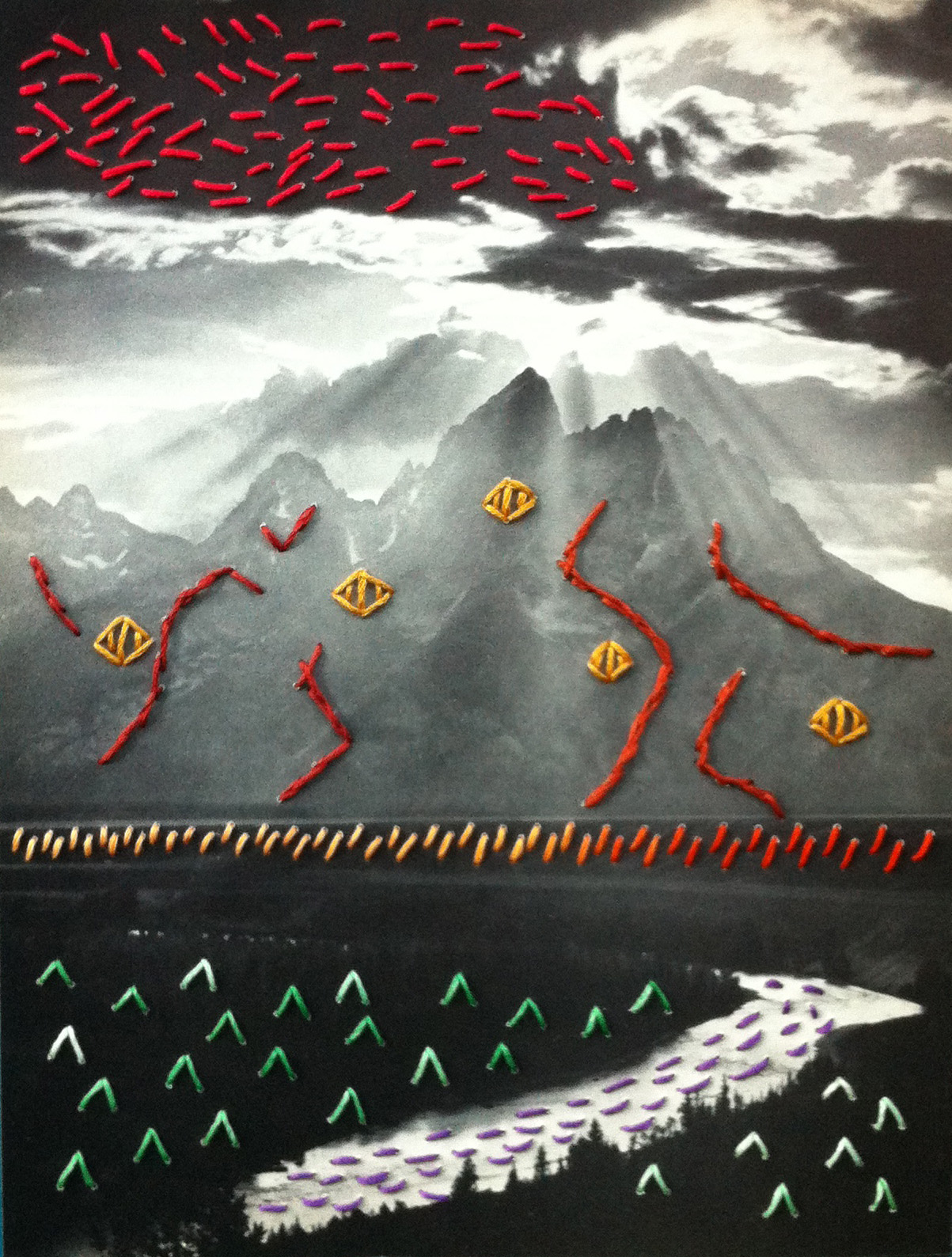 Crossing the Snake River  Embroidery on paper  2013