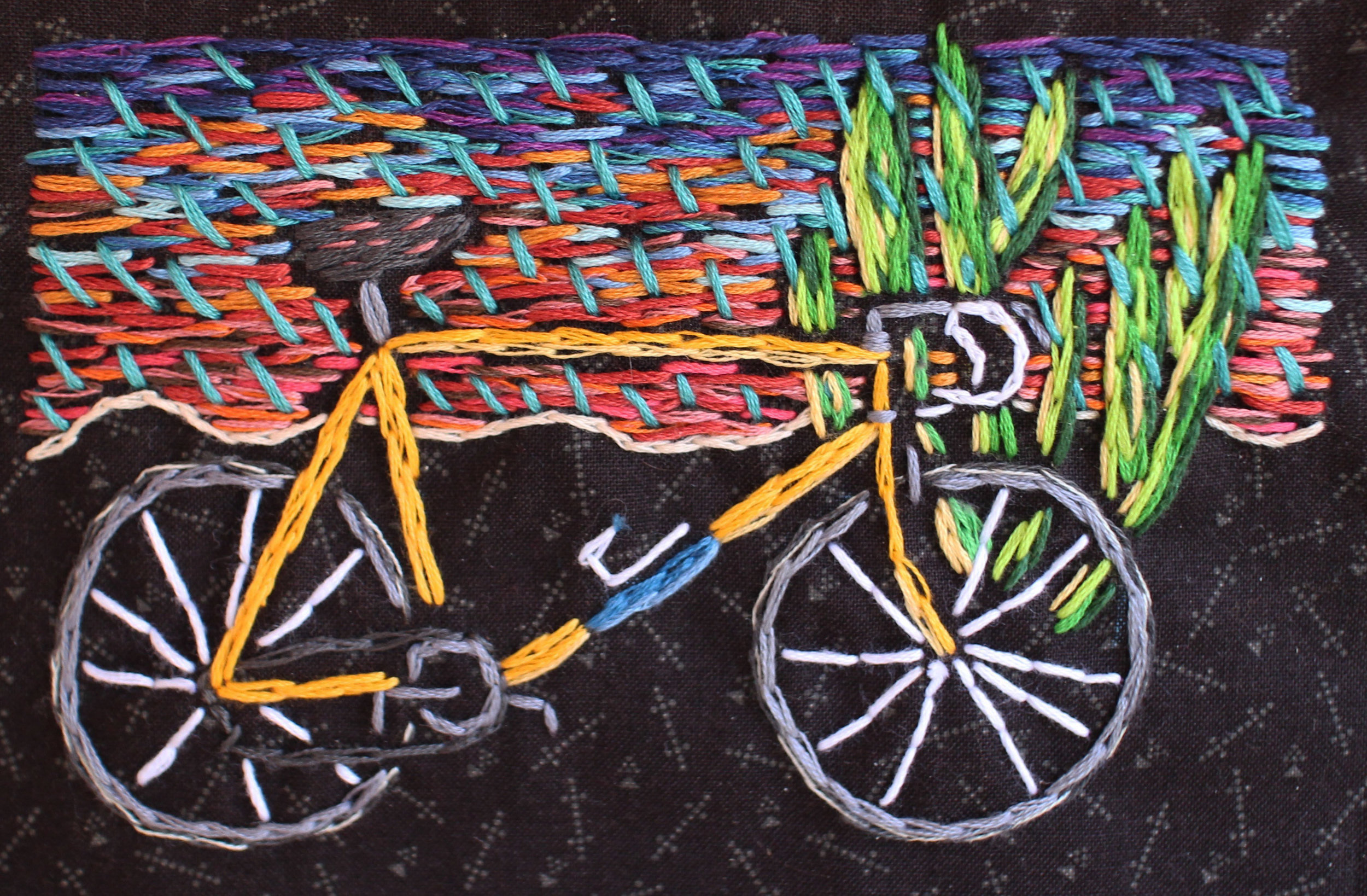 Bicycle and Organ Pipe Cactus   embroidery on fabric  2017