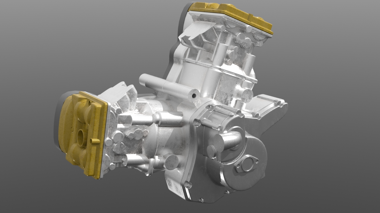 A very early test render of the unfinished motor model. Created in Meshfusion with a lot of pre-planning.