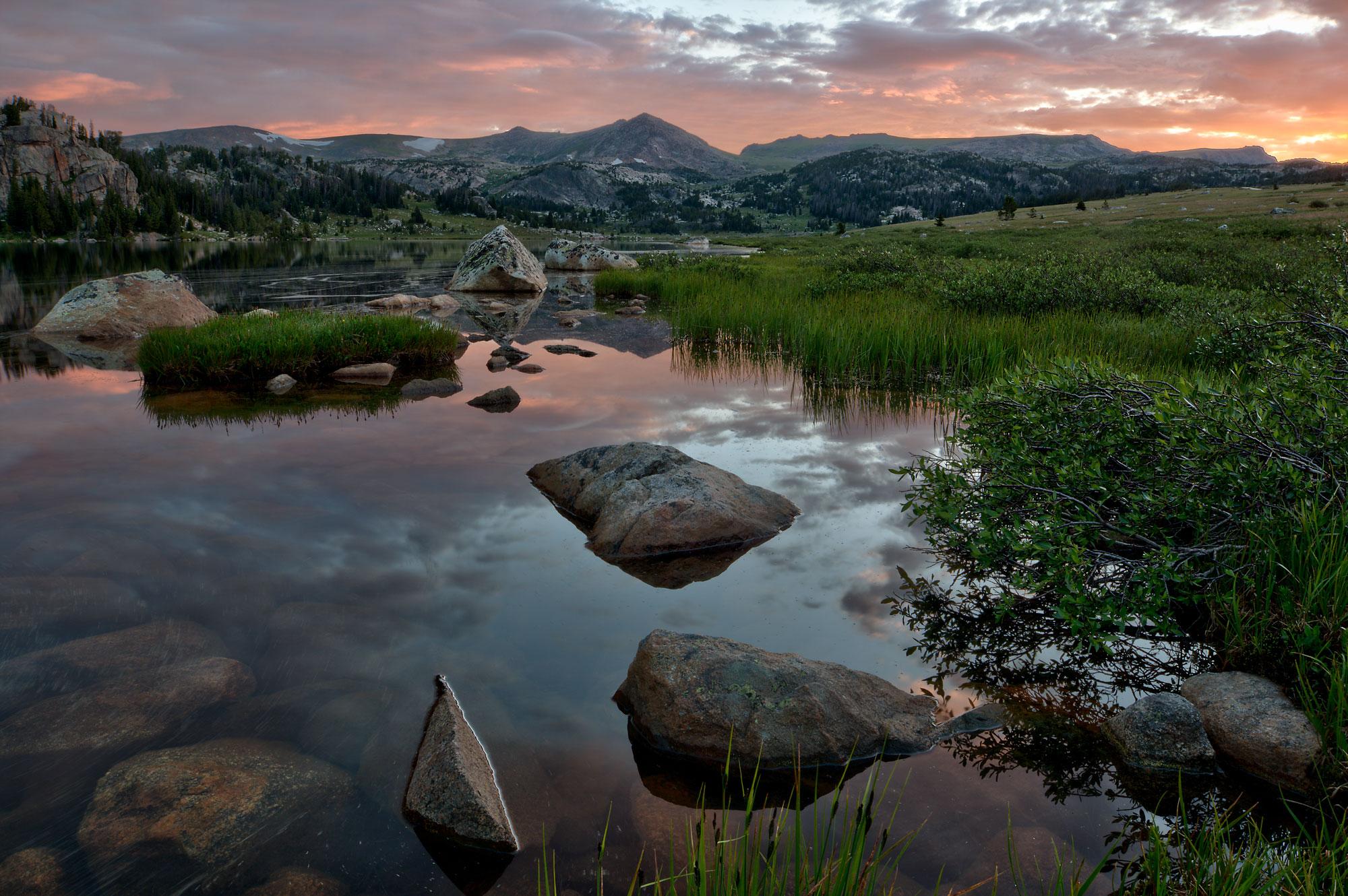 Long Lake sunrise on Beartooth Pass, WY