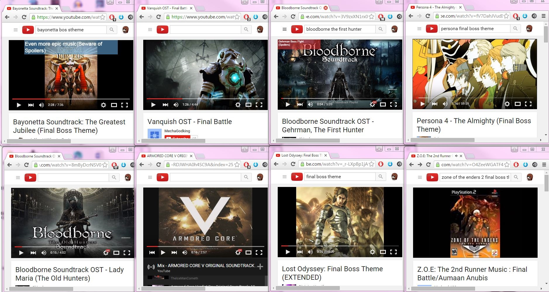Examples of different video game soundtracks for research purposes.