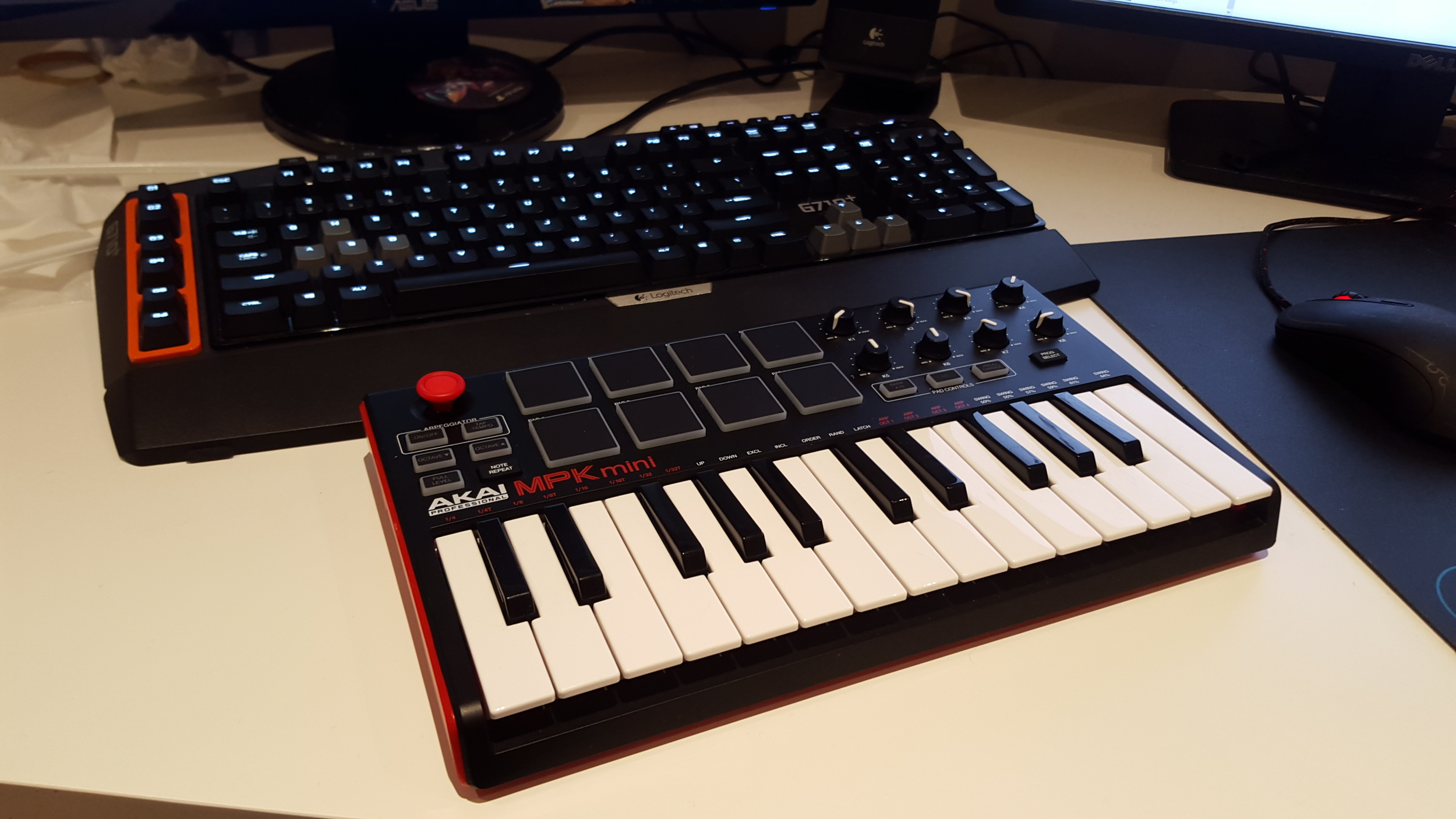 MIDI keyboard used to create the melody and beats to be transcribed digitally.