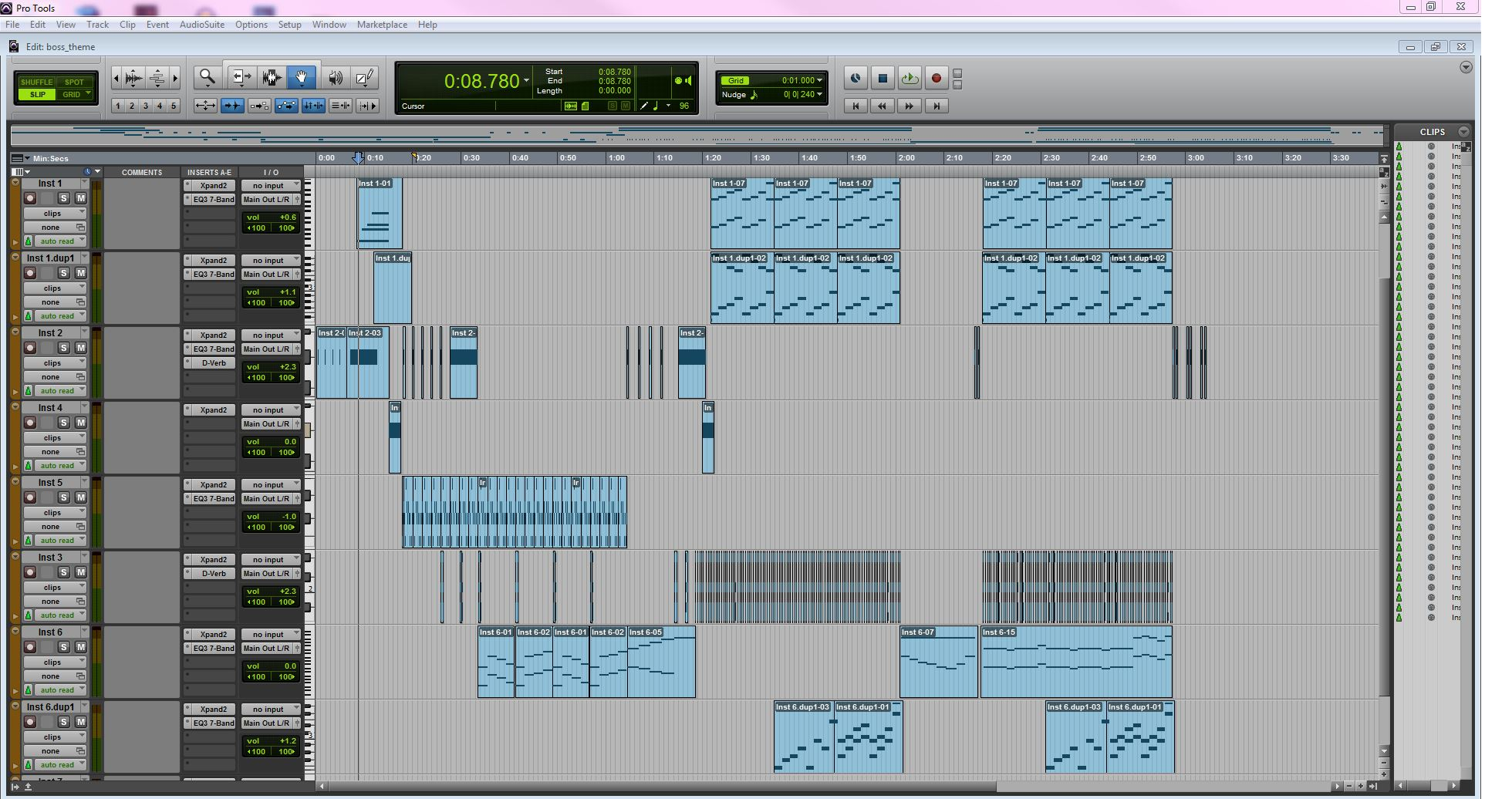 Screenshot of Pro Tools work space.