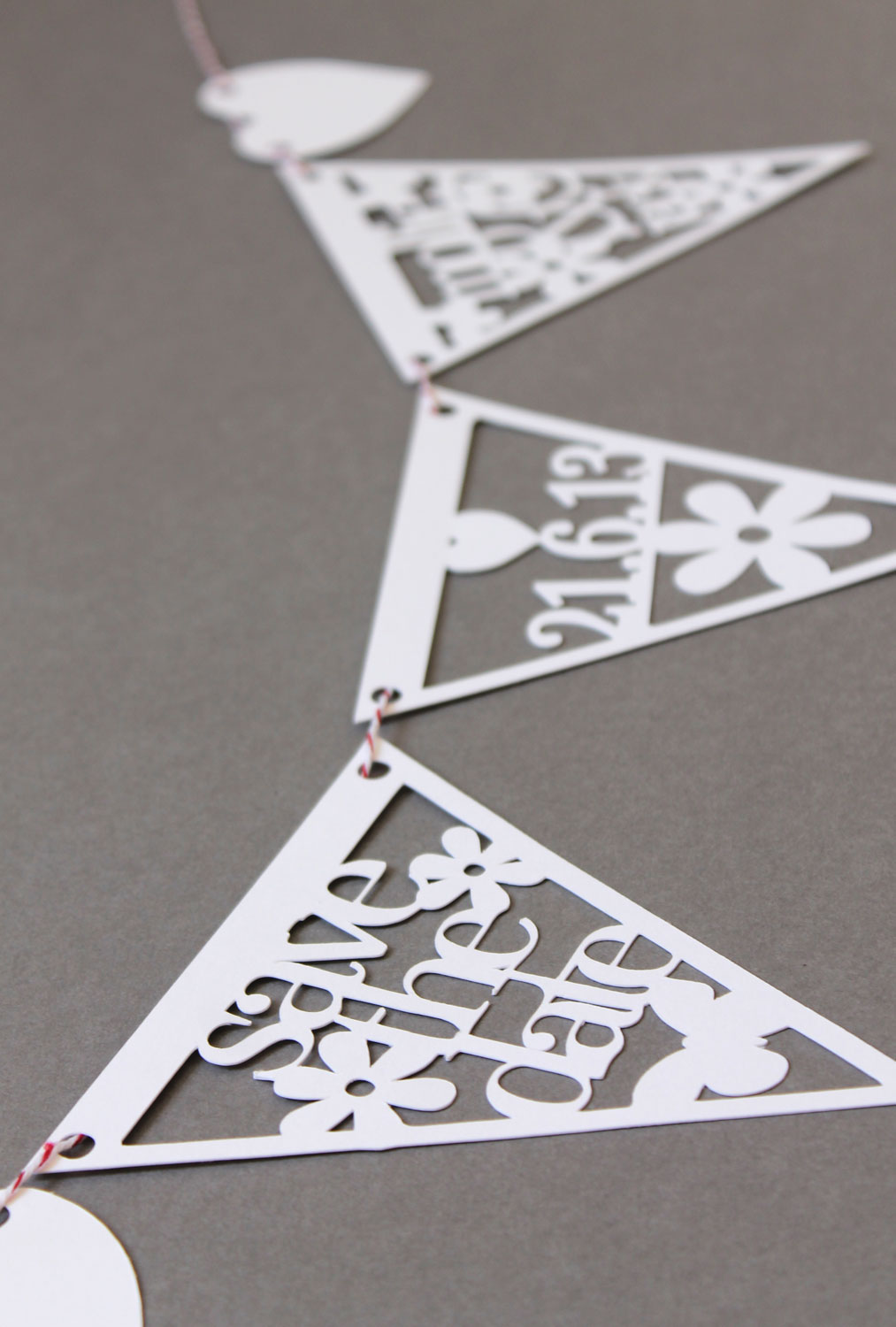 Save the Date Papercut bunting by Studio Seed