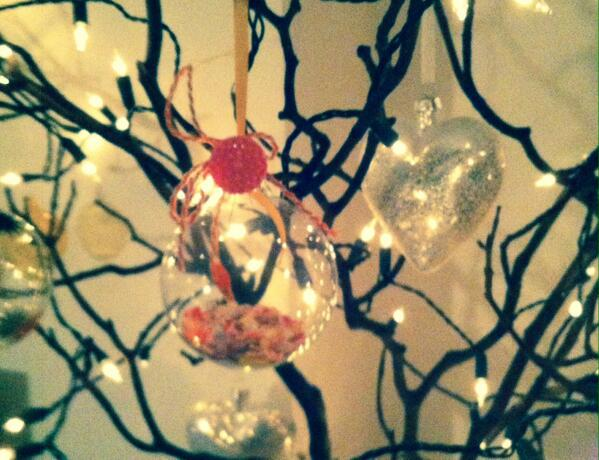 Rachael Taylor's colourful bauble on Jo Pickles' tree
