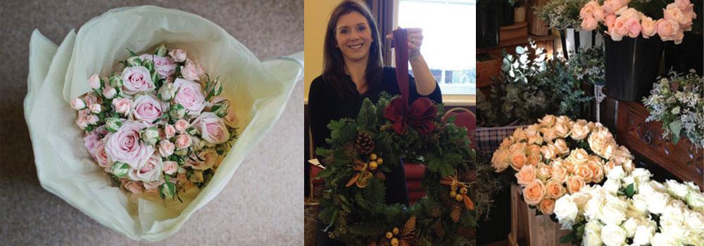 L-R flowers by Ailsa (photography John Day), Ailsa at her famous wreath workshop, Ailsa's gorgeous workshop.