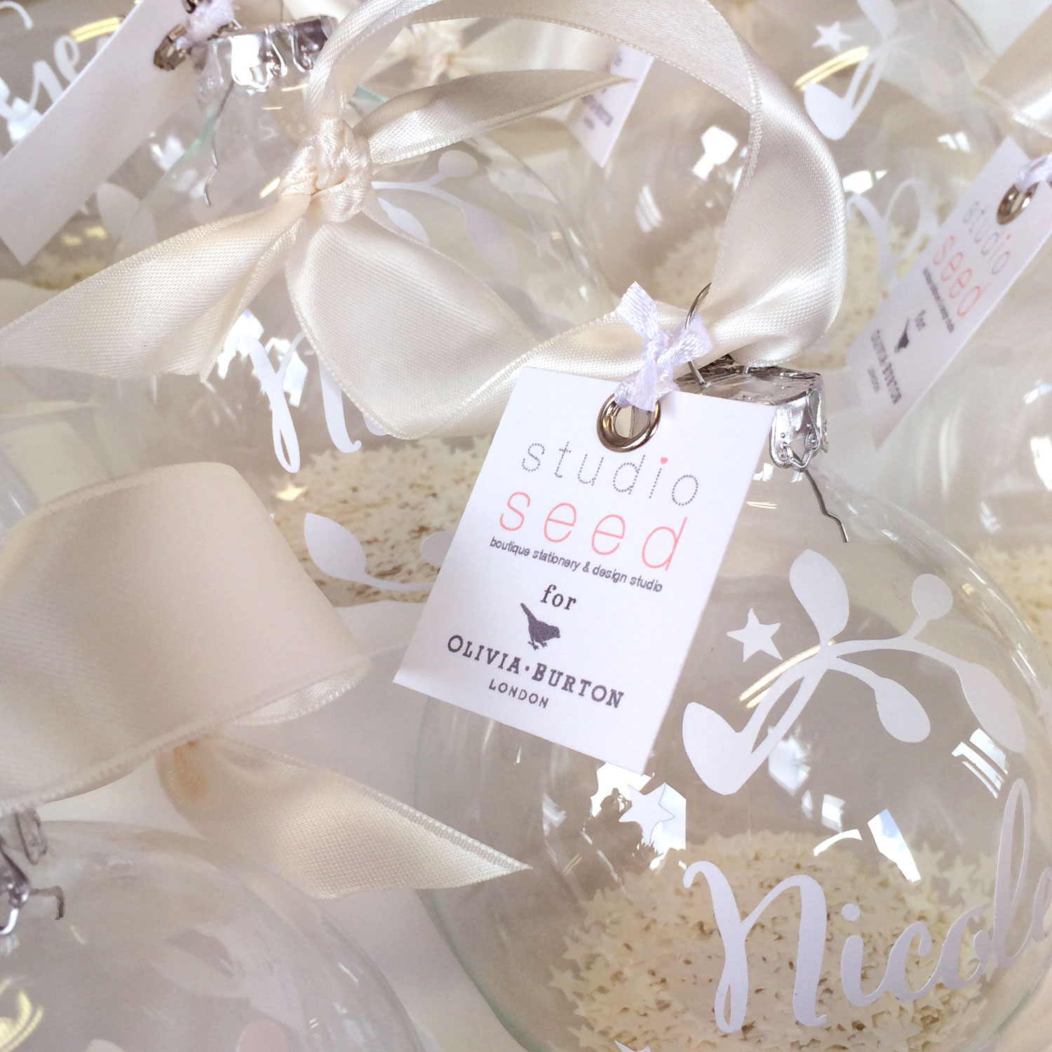 Personalised tags finished each bauble perfectly