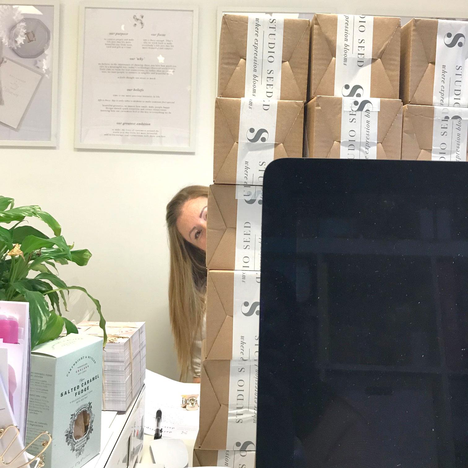 Viki working her way through the post!