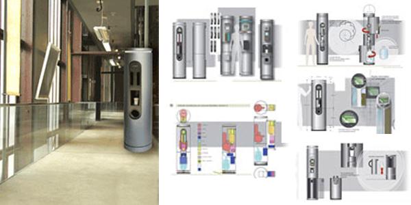 """Büro-Kaffeeautomat """"Cafelith""""  Mit dem Einsatz moderner Heißgetränke-Automaten erschließen sich neue interessante Distributionskanäle. Die Aufgabe bestand in der Konzeption und Entwicklung eines exklusiven Kaffee-Automaten, der sich auch in ein modernes Ambiente integrieren lässt und dabei die Architektur des Raumes akzentuiert. Die Formgestaltung ist nüchtern und hintergründig, um die sinnliche Wahrnehmung auf die Füllstoffe Wasser und Kaffeebohnen sowie auf die Verarbeitung, den Mahl- und den Brühvorgang zu konzentrieren."""