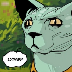 """Lying cat is one of my favorite characters. He never really lies. He just says """"lying."""""""